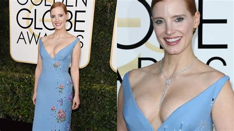 Jessica Chastain Nice Big Boobs At The Golden Globes 2017